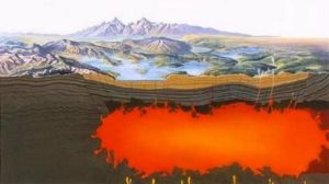 Yellowstone is an active volcano. Surface features such as geysers and hot springs are direct results of the region's underlying volcanism. (National Park Service)