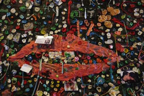 Evoking lips by Man Ray, many pieces of gum went into this attachment to Post Alley's Gum Wall. Scheduled to be cleaned in a week.  (Tuesday Nov 3, 2015)  Seattle Times